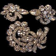 Eisenberg Ice  Demi Parure Clear Brooch & Earring  Set, Vintage