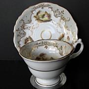 Staffordshire Porcelain Cup & Saucer, Handpainted Landscapes, Antique, c 1835