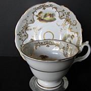 English Porcelain Cup & Saucer, Handpainted Scenes, Antique, c 1835