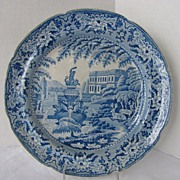 "C.J. Mason Pearlware Plate, Blue & White, ""Trentham Hall"", Antique 19th C"