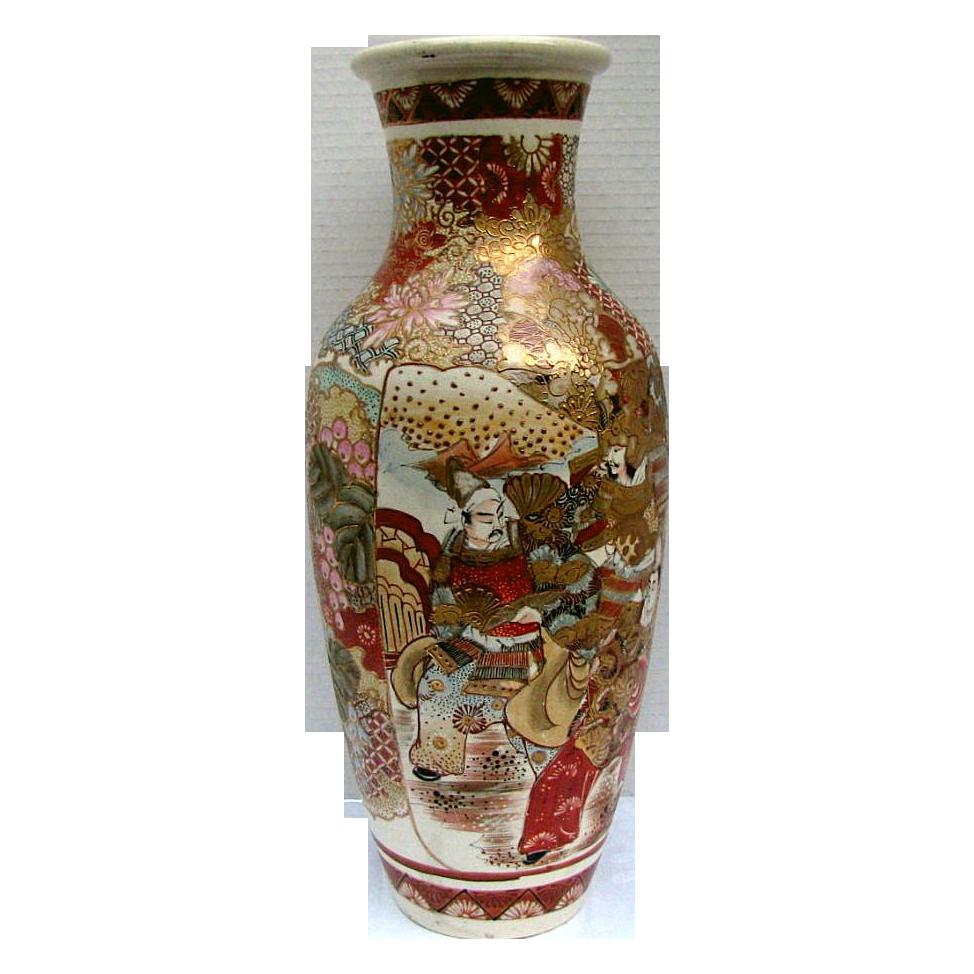 """Large Satsuma Vase,Samurai & Scholars, Antique  Meiji Era, 18"""""""