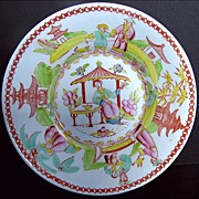 """Chinoiserie Saucer, """"Architectural Draughtsman"""", Antique 19th C English"""