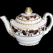 Barr, Flight & Barr Worcester Teapot, Acorns & Oak Leaves, c 1805 English