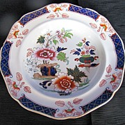 John Ridgway Soup Plate, Imperial Stone China, Chinoiserie, Antique 19th C