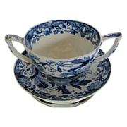 Rare Wedgwood Cup & Trembleuse Saucer, Blue Crane, Chinoiserie, Early 19th C