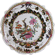 Early Mason's  Ironstone Shaped Plate, Chinoiserie, Gilded Geese, c 1820