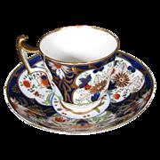 English Imari Porcelain Cup & Saucer, Gilding, Antique 19th C