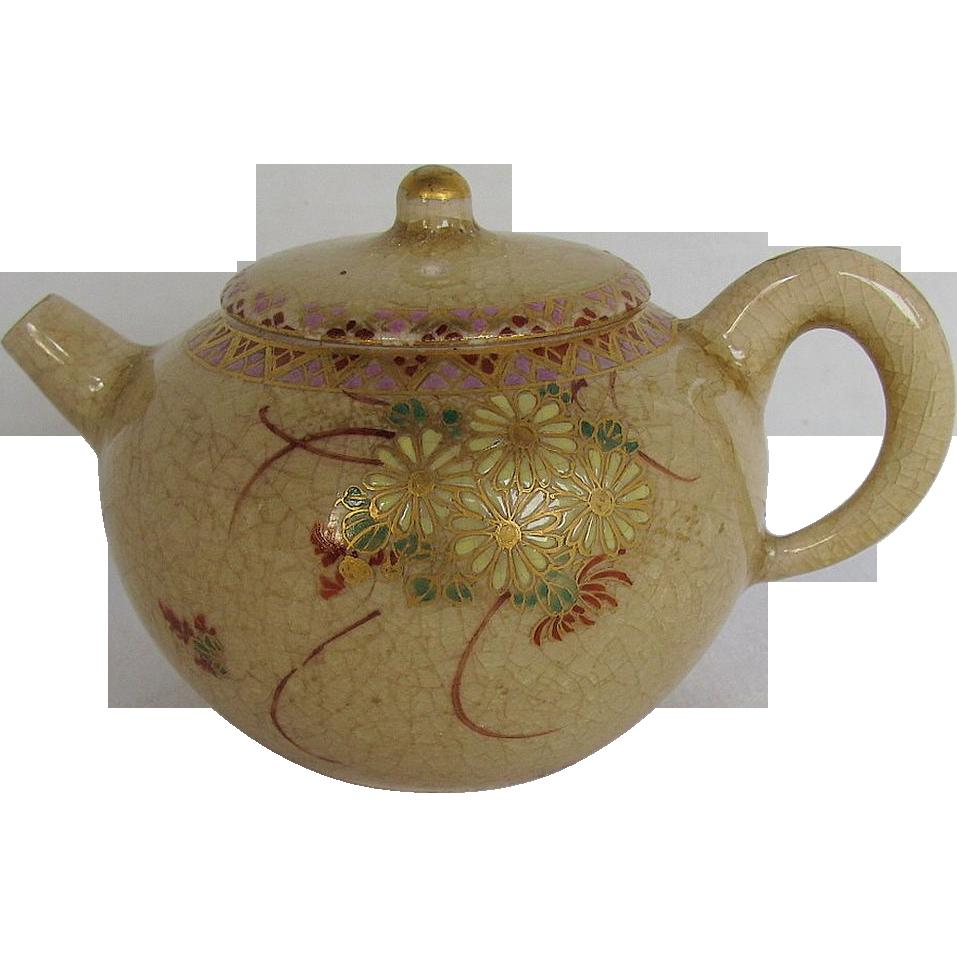 Miniature Satsuma Teapot, Signed, Antique Meiji Era Japanese