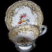 Coalport Cup & Saucer, Handpainted Flowers, Gilding, Antique c 1840