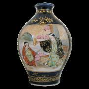 Satsuma Miniature Vase, Signed, Cobalt Blue, Antique Meiji Period