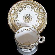 Fine Davenport Porcelain Cup & Saucer, Heavily Gilded, Antique c 1820