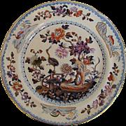 Davenport Stone China Plate, Chinoiserie Stork Pattern, Antique c 1815