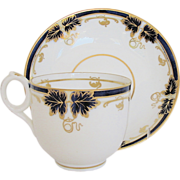 Fine Davenport Cup & Saucer, Bone China, Cobalt & Gold, Antique 19th C