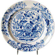 "English Chinoiserie Plate, ""Dresden Opaque China"", Blue & White Florals, Antique 19th C"