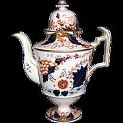 Important Davenport Hybrid-Hard Paste Porcelain Coffee Pot, English Imari, Antique c 1820
