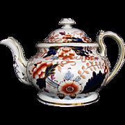 Rare Davenport Hybrid-Hard Paste Porcelain Teapot, English Imari, Antique c 1820
