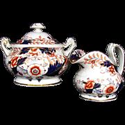 Rare Davenport Hybrid-Hard Paste Porcelain Creamer & Covered Sugar, English Imari, Antique c 1820
