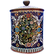 Japanese Cloisonne Tobacco Humidor, Antique 19th C Meiji Era