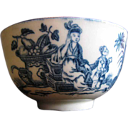 Worcester Tea Bowl, 18th C Blue & White, Mother and Child Transferware Pattern