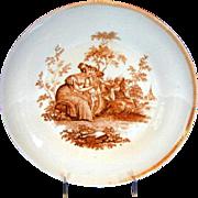 English Porcelain Dessert Dish, Cupid with Basket,  Antique c1810