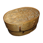 Norwegian Bent Wood & Chip Carved Oval Box, Sveiping Øskjer, Antique