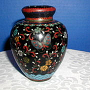 Japanese Cloisonne Tea Jar (Tea Caddy), Black Ground w/Butterfly, Antique Meiji Era