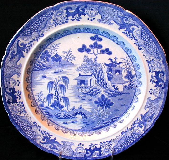 """Early Mason's Ironstone Plate,  """"Turners Willow"""", Antique c 1820"""
