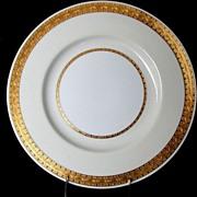 """Mintons Dinner Plate, """"Embassy"""" Pattern , K108, Gilded Rim w/Cream & White"""