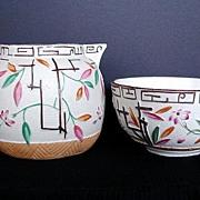 Aesthetic Movement Cream & Sugar, Bamboo & Trellis, Antique 19th C English Stoneware, Brownhills