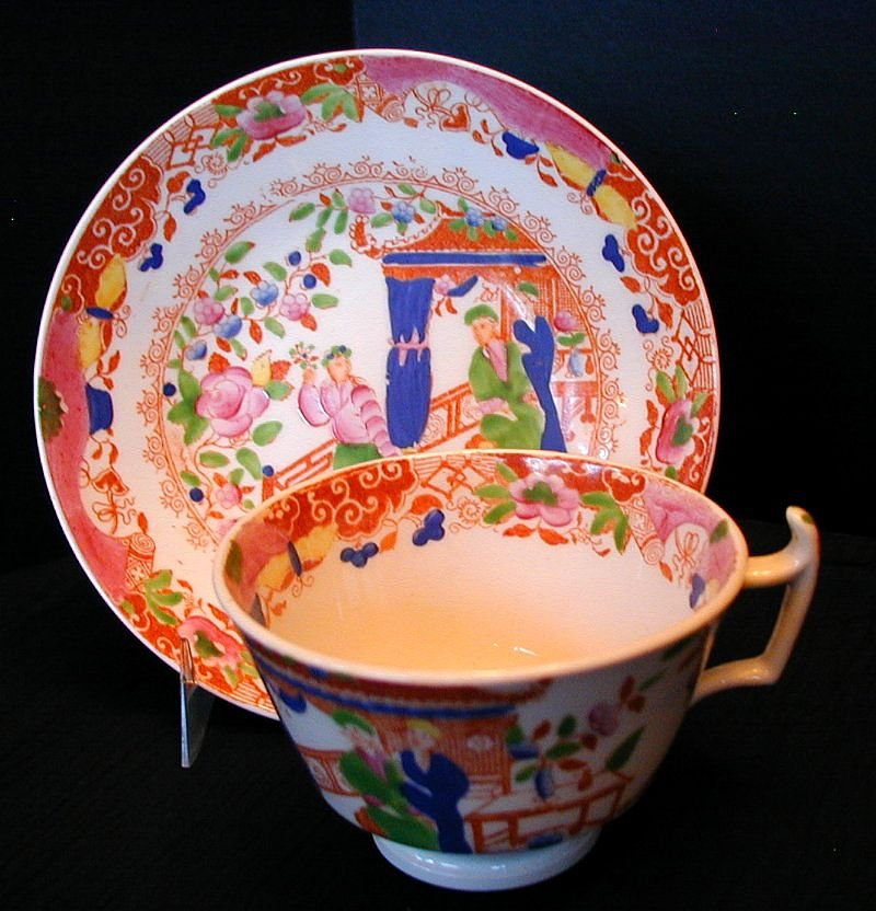 """Rathbone Cup & Saucer, """"Tea House"""" Pattern, Antique 19th C English Chinoiserie #1"""