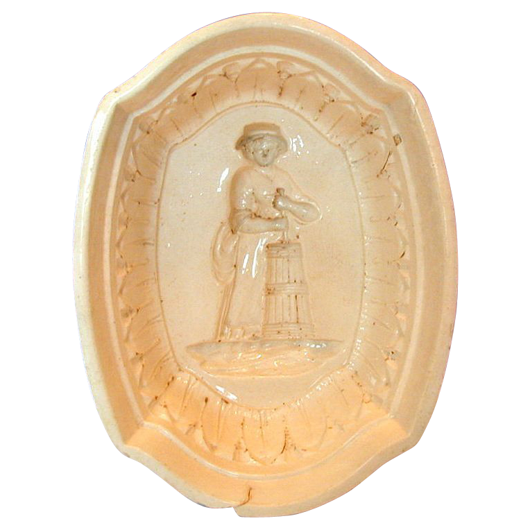 Rare Creamware Jelly Mould, Dairy Maid Churning Butter, Antique 19th C English