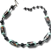 Fabulous Japan Glass Millefiori End of Day Bead Necklace