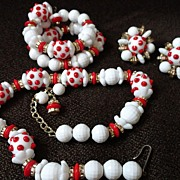 Vintage Hobe Glass Red and White Polka Dot Parure