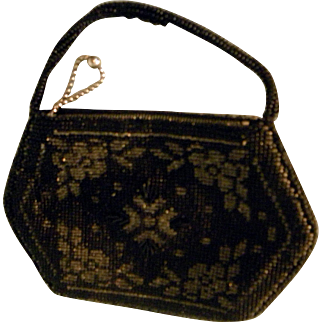 Elegant Black beaded purse from Czechoslovakia