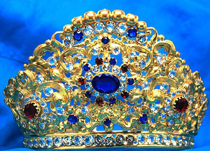 Antique French Jeweled Crown Tiara for Santos or Madonna