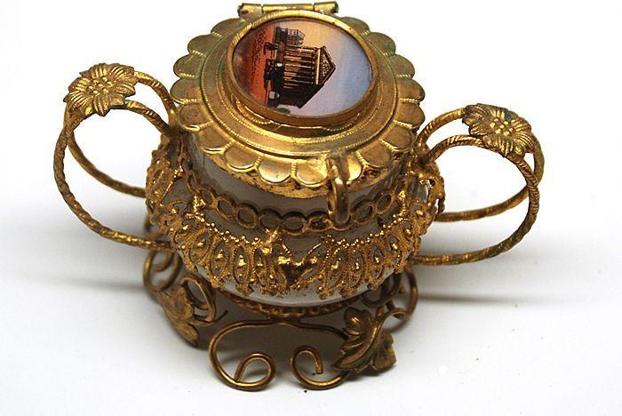 19th Century Grand Tour Fancy Brass Opaline Encrier/Inkwell