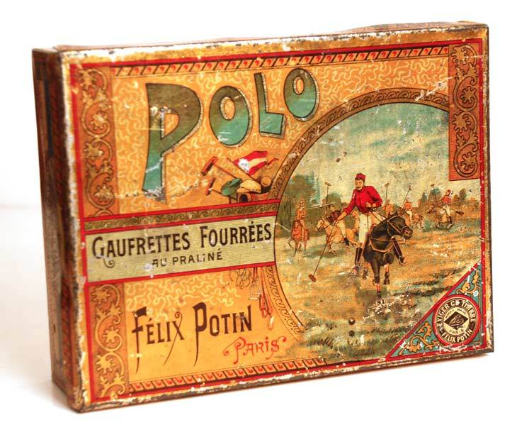 Boîte à gâteaux Polo: French Gaufrette Tin circa 1895-1910
