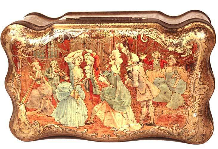 """Antique French Metal Chromolithograph Biscuit Tin: """"Biscuits Pernot"""" circa 1895-1900"""