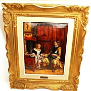 """Large Hand Painted Limoges Enamel Wall Plaque """"Le Galant Militaire"""" (artist unknown) after Terborche"""