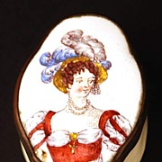 Antique Nineteenth Century French Enamel Snuff Box w/Hand Painted Portrait