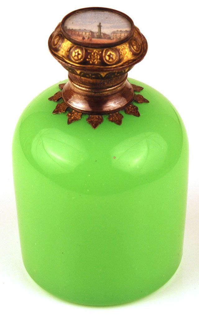 Antique Nineteenth Century Green French Opaline Scent Bottle w/Eglomise Scene