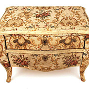 Antique Miniature Damask French Bombe Commode