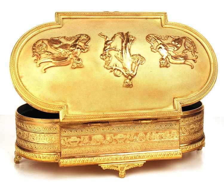 Antique Napoleon III French Bronze Dore (Gilded Bronze) Coffre