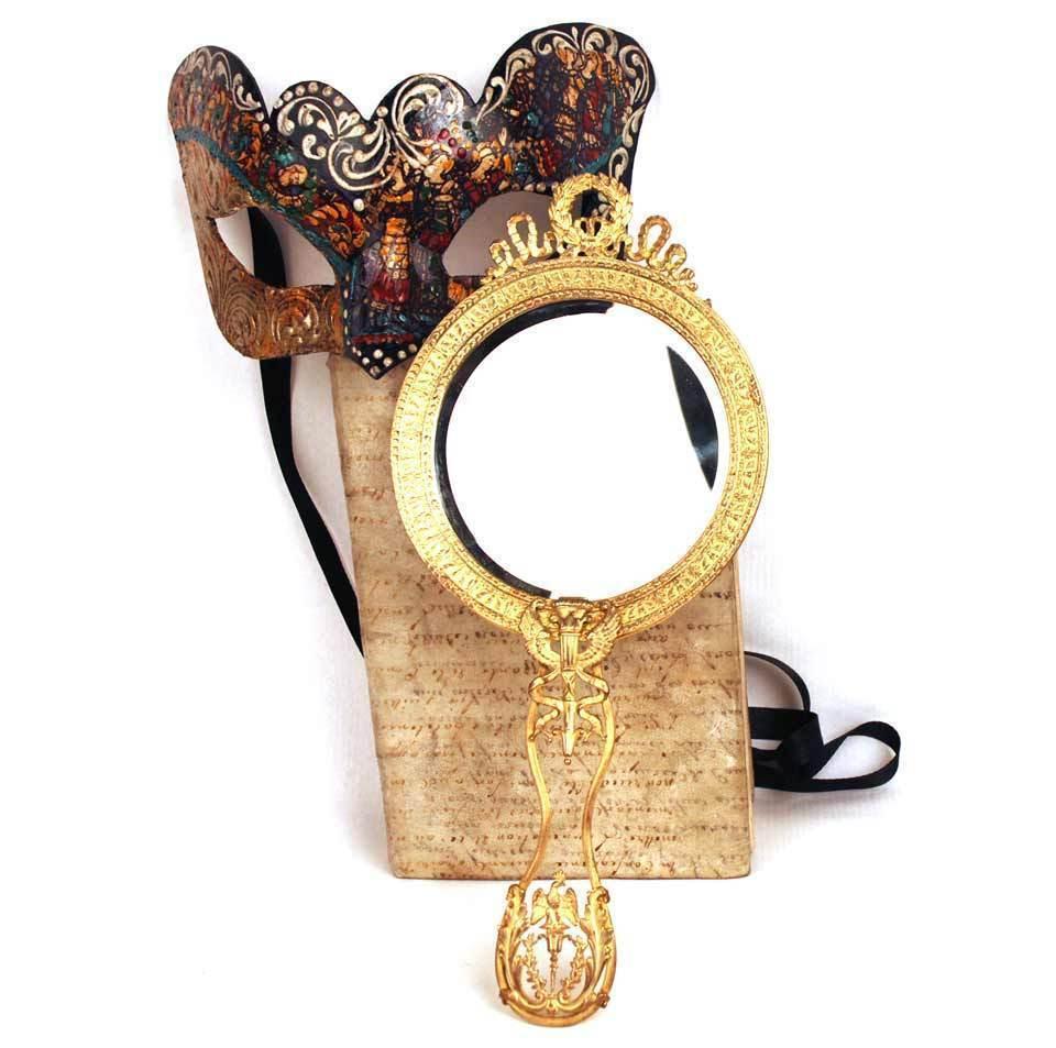 Antique Napoleon III Miroir Bronze Doré  a Main (Hand Mirror)
