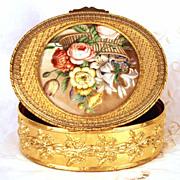 Grand Antique Napoleon III Gilded Bronze Boite/Box w/Fine Hand Painted Medallion