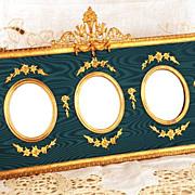 Antique Napoleon III Era Gilded Cadre/Frame inHorizontal Form with Triple View