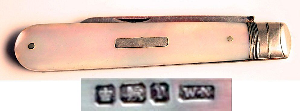 Victorian 1896 Sterling Silver Fruit Knife Penknife Mother of Pearl