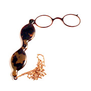 Antique 1850 French Tortoiseshell Lorgnette with Gold Fill Chain.