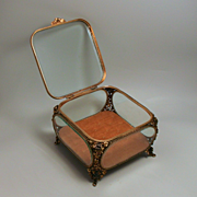 An Antique French Rose Casket Jewellery Box 7 Inches Square