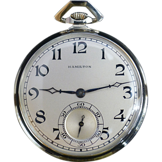 SALE 1937 Hamilton, 24K Solid White Gold, Pocket Watch, Art Deco, 19 Ruby Jewels, Lancaster PA, Full One Year Guaranty